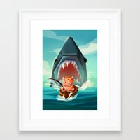 jaws Framed Art Prints featuring JAWS by Aggie Cheung