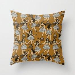 Dashboard Dancing Hula Girls Throw Pillow