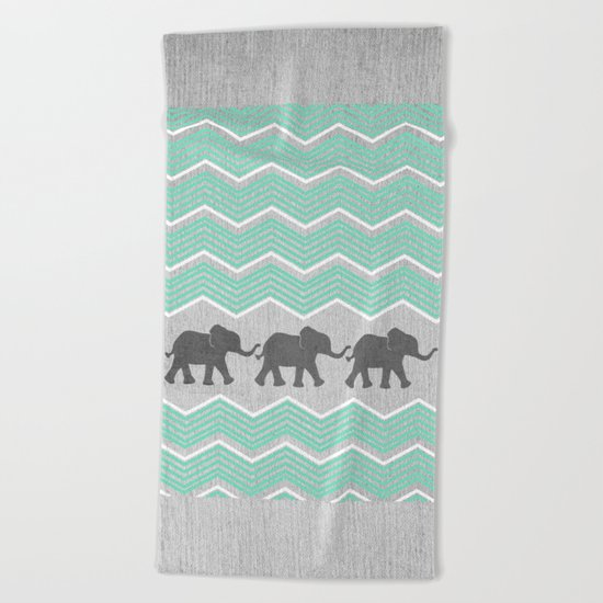 Three Elephants - Teal and White Chevron on Grey Beach Towel