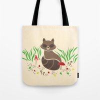 raccoon Tote Bags featuring Raccoon by Lynette Sherrard Illustration and Design