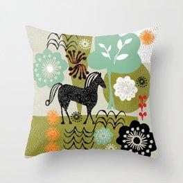 magical horse garden Throw Pillow