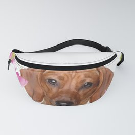 Dog in Field of Lotos Flower Fanny Pack