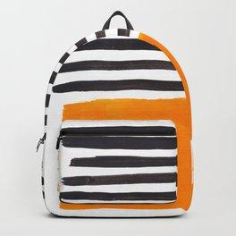 Minimalist Mid Century Mango Shade Black Lines Sunset Landscape Fun Backpack