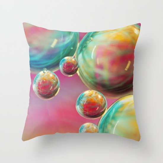 Tropical Feather Bubble Abstract Throw Pillow