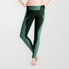 Mint green and feathers Leggings
