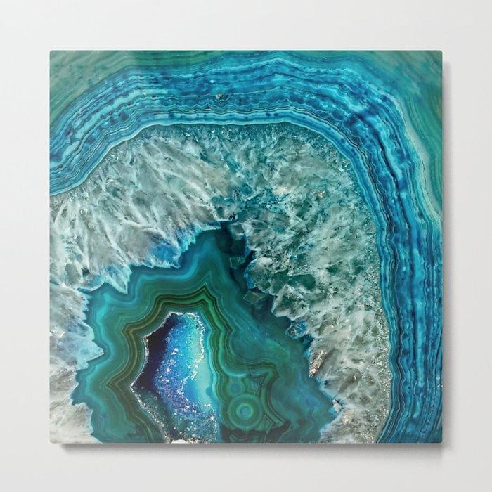Aqua turquoise agate mineral gem stone Metal Print