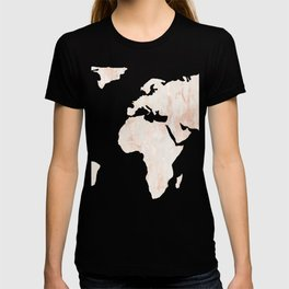 Marble World Map Light Pink Rose Gold Shimmer T-shirt