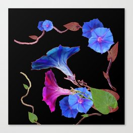 Black  Color Blue Morning Glory Art Design Pattern Canvas Print