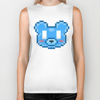 8bit Biker Tanks featuring 8Bit Kawaiikuma by Bear Picnic