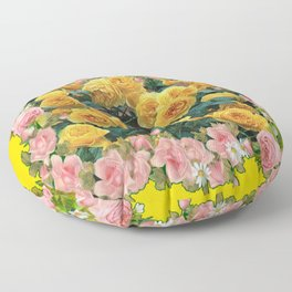 PINK & YELLOW SPRING ROSES GARDEN VIGNETTE Floor Pillow