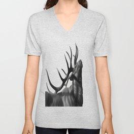 Elk in Black in White Unisex V-Neck
