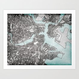 Boston City View Art Print