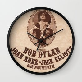 Vintage 1975 Bob Dylan and Rolling Thunder Review Flyer - Poster Providence Concert Wall Clock