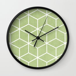 Lime Green and White - Geometric Textured Cube Design Wall Clock