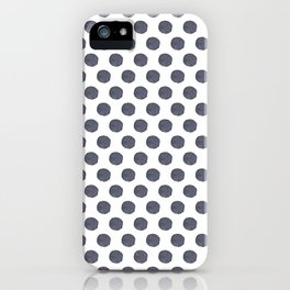 Watercolor Navy Blue Polka Dots Pattern iPhone Case