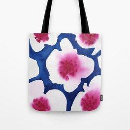 Splendor -dark blue and pink floral watercolor Tote Bag