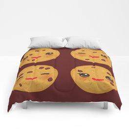 Kawaii Chocolate chip cookie Comforters