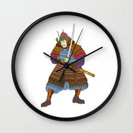 Vintage Samurai Katana Woodblock Print Wall Clock