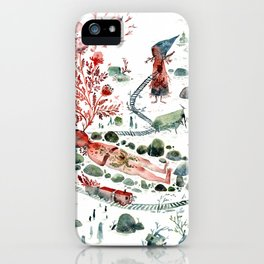 Colossal Watercolor Village Elf Gnomes iPhone Case