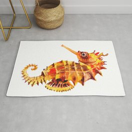 Seahorse decor orange red beach house design Rug