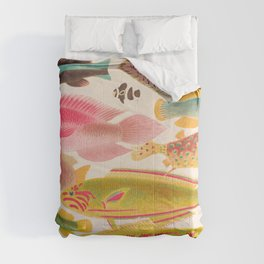Colorful Tropical Fishes Vintage Sea Life Illustration Comforters