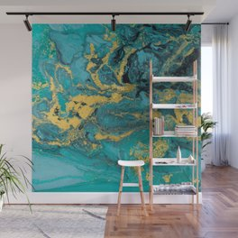 Abstract Pour Painting Liquid Marble Black Blue Teal Painting Gold Accent Wall Mural