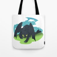 toothless Tote Bags featuring toothless by tsurime
