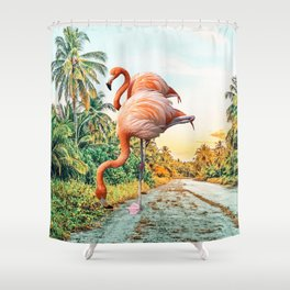 Flamingo Vacay #photography #surrealism Shower Curtain
