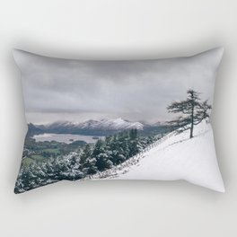 Views of Derwent Water from Latrigg, covered in snow. Cumbria, UK. Rectangular Pillow