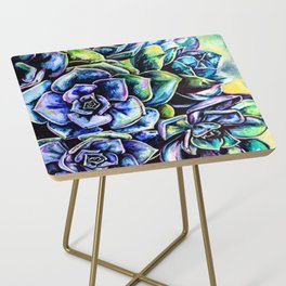 Watercolor Succulents art painting Side Table