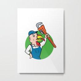 Turkey Plumber Monkey Wrench Circle Cartoon Metal Print