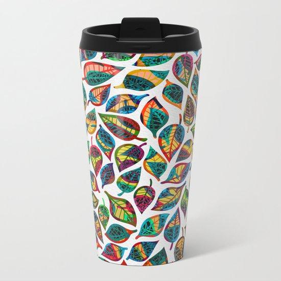 Multicolor Leaf Pattern 2 Metal Travel Mug