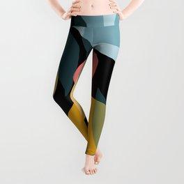 Mid Century Geometric pattern with leaves #society6 Leggings