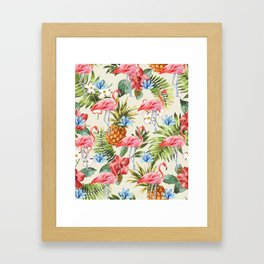 Floral Flamingos Framed Art Print