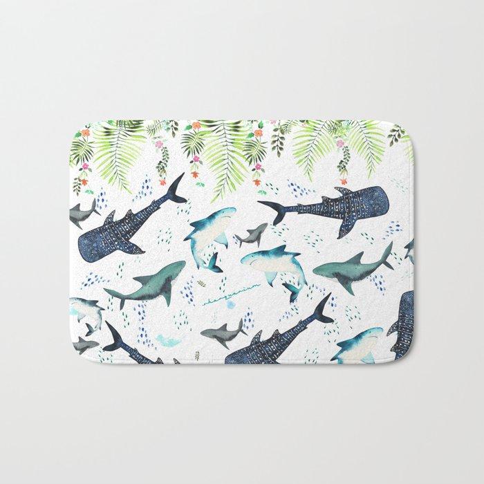 floral shark pattern Badematte