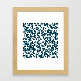 Small Pixel Big Pixel - Geometric Pattern in Dark Blue Framed Art Print