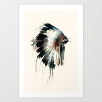 watercolour Art Prints featuring Headdress by Amy Hamilton