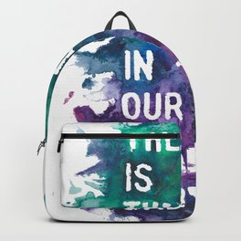'There is thunder in our hearts' lyric art print Backpack