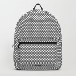 White and Gray Basket Weave, Mesh Line Pattern Backpack