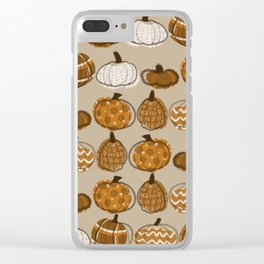 Pumpkin Party in Almond Clear iPhone Case