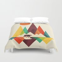 outdoor Duvet Covers featuring Bear In Whimsical Wild by Picomodi