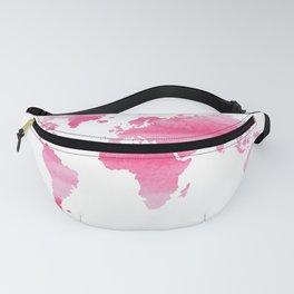Pink World Map · World Map · Travel Art · Pink Art · Pink World Fanny Pack