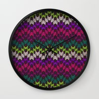 sweater Wall Clocks featuring Mummy's Sweater by Angelo Cerantola