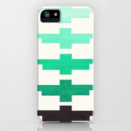 Mid Century Minimalist Ancient Aztec Inca Geometric Pattern Watercolor Teal Turquoise Colorful Gouac iPhone Case