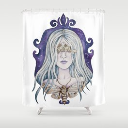 Gothic watercolor universe moth woman Shower Curtain