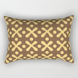 Mid Century Modern X and Dot Pattern Brown and Yellow 2 Rectangular Pillow