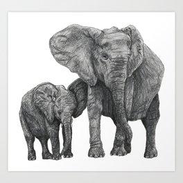 African Elephant and Calf Art Print