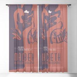 Retro Macbeth William Shakespeare Sheer Curtain