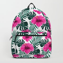 Tropical Hibiscus Flower Floral Pattern Backpack