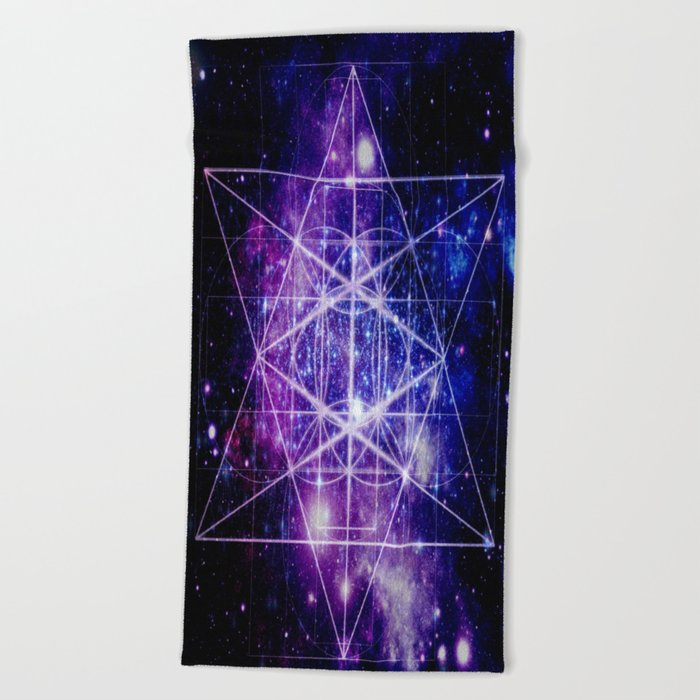 galaxy sacred geometry Beach Towel